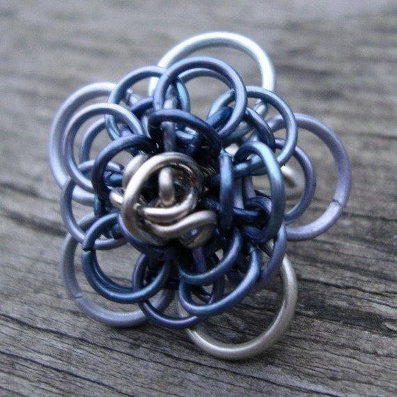 Dahlia Chainmaille Ring Size 7.5 Steel Grey OOAK Made By Amanda Bead and Button June 2010