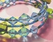 Blue Crystal Beach Bracelet with Green Teardrops