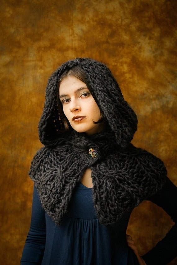 Knitting Pattern For Shrug With Hood : Reserved for Stephanie Gothic Hooded Shrug by Ellita on Etsy