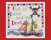 Pirate Ship Cross-stitch Card