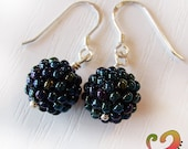 Juicy Fruits - Sterling Silver Black Berry Beaded Beads  Glass Earrings