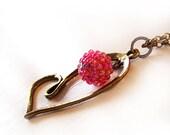 Pink Bead Heart Necklace - Valentine Pink Beadwork Necklace - Veronica Love Heart Pendant Necklace
