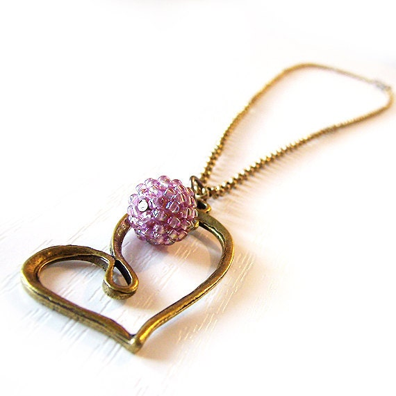 Veronica Love heart pendant in bronze and lilac