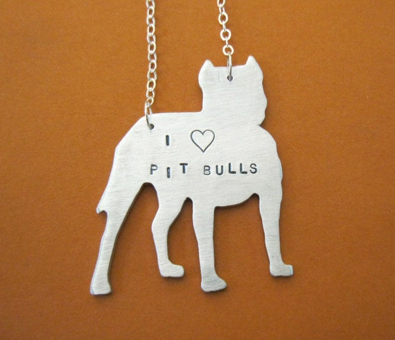 Pit Bull Necklace-I Heart Pit Bulls- End Breed Bullying-Dog Lover-Pet Memorial-Eco Friendly-Customizable-Gift-Vegan-Rescue Dog
