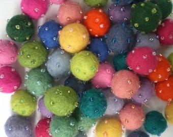 Grab Bag of 50 Multicoloured Felt Balls - Beaded