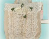 Sale Beautiful tote bag with crochet lace and millinery roses CSST ECS SCT
