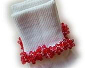 Kathy's Beaded Socks - Candy Apple Red socks, girls socks, baby socks, toddler socks, red socks, tri bead socks