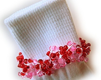 Kathy's Beaded Socks -  Red and Pink socks, girls socks, white socks, red socks, pink socks, tri bead  socks, Valentine socks