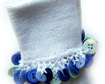 Kathy's Beaded Socks - Blue Button socks, girls socks, school socks, white socks, uniform socks