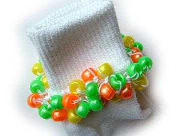 Kathy's Beaded Socks - Citrus Cooler socks, girls socks, pearl socks, orange socks, yellow socks, green socks, school socks
