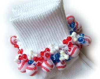 Kathy's Beaded Socks - All American Baseball socks, girls socks, beaded socks, tri bed socks, red white and blue socks