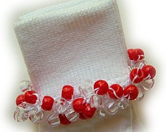 Kathy's Beaded Socks -Valentines Day - Red and Clear beaded socks, holiday socks, red socks, school socks. clear socks, party socks