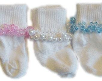 Kathy's Beaded Socks - Dressy Baby - 3 PAIRS - Size 0-6, 6-12, 6-18, 12-24, 18-36 baby socks, pearl socks, tri bead socks, Baptism socks