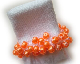Kathy's Beaded Socks - Orange pearl pony bead socks, girls socks, pearl socks, school socks, orange socks