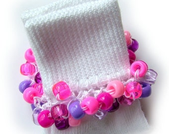 Kathy's Beaded Socks - Mixed Berry socks, girls socks, pony bead socks, pink socks, purple socks, school socks