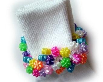 Kathy's Beaded Socks - Pearl Flowers socks, pearl socks, girl socks, pink socks, purple socks, blue socks, white socks