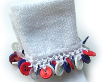 Kathy's Beaded Socks - Patriotic Button Socks, red white and blue socks, button socks, girls socks, 4th of July socks, holiday socks