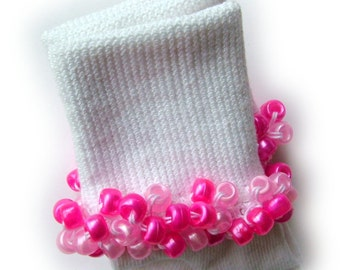 Kathy's Beaded Socks - Pretty Pinks socks, girls socks, pony bead socks, pearl socks, pink socks, hot pink socks, school socks