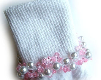 Kathy's Beaded Socks - Pink and Pearly socks, pearl socks, pink socks, dressy socks, school socks