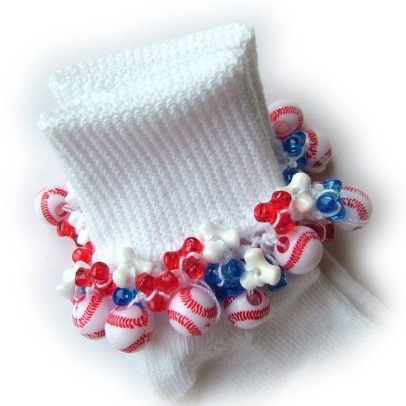 Kathy's Beaded Socks - All American Baseball socks, girls socks, beaded socks, tri bed socks, red white and blue socks