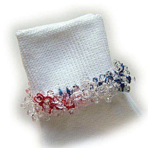 Kathy's Beaded Socks - USA Spirit socks, red white and blue socks, clear tri beads socks, girls socks, 4th of July socks