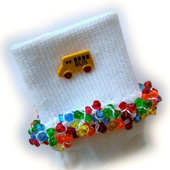 SCHOOL BUS - Beaded Socks - Free ship - See shop for details