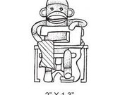 Sock Monkey Sewing Rubber Stamp 143 featured artist