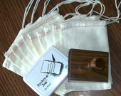 Muslin DIY Gift Bag Complete Kit - Custom Stamp plus Ink Pad and 10 4X6 Cloth Bags