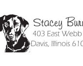 Custom Black Lab Dog Return Address Stamp AD14