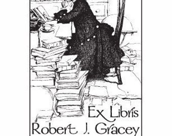 Man Reading Personalized Ex Libris BookLibrary Stampplate  Rubber Stamp D23