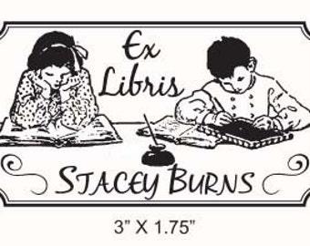 Vintage Kids Reading Ex Libris Bookplate Rubber Stamp F26