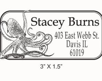 Octopus Custom Return Address Rubber Stamp AD77