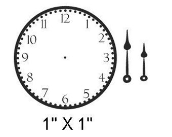 Mini Clock Face and Hands Rubber Stamp 030