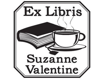 Custom Book and Teacup Ex Libris Bookplate Rubber Stamp C16