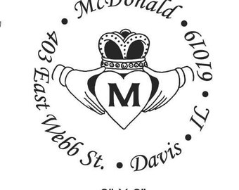 Custom Return Address Claddagh Monogram Rubber Stamp 2 inch Round AD33