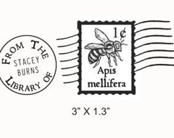 Bee Mail Art  Faux Postage Stamp Ex Libris Custom Rubber Stamp F10