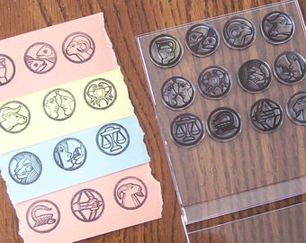 Sign of the Zodiac Inchie Clear Cling Rubber Stamps all 12 signs 224