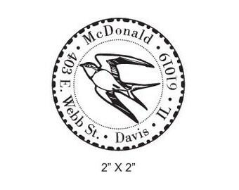 Swallow Custom Return Address Rubber Stamp AD125