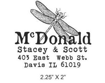 Dragonfly Custom Return Address Rubber Stamp 128