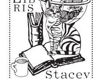 Tabby Cat Personalized Ex Libris Library Rubber Stamp D04