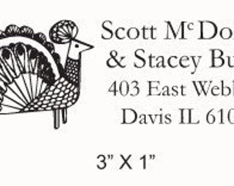 Folk Art Style Peacock Custom Return Address Rubber Stamp AD75