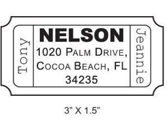 Custom Ticket Return Address Rubber Stamp AD47