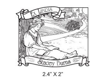Princess Reading a Book Personalized Ex Libris Rubber Stamp I01