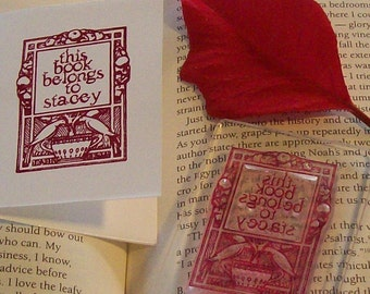 Personalized Topiary Ex Libris Bookplate Rubberstamp B07a