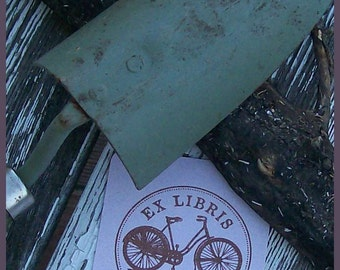 Antique Bicycle Personalized Ex Libris Rubber Stamp G07