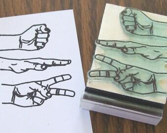 Rock Paper Scissors RPS Rubber Stamp 102