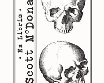 Personalized Anatomical Skulls Human Anatomy Ex Libris Bookplate Rubber Stamp F21