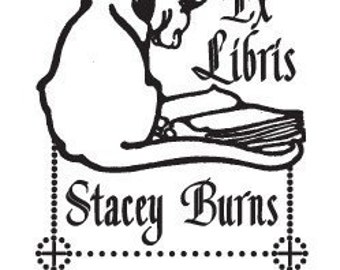 Cat Reading a Book Personalized Ex Libris Rubber Stamp H37