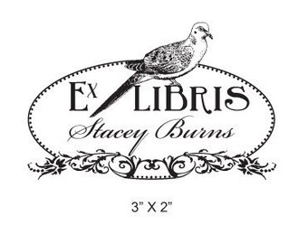 Dove and Floral Oval Personalized Bookplate Ex Libris Rubber Stamp H10