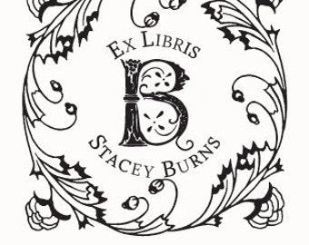 Square Floral Frame Monogram Ex Libris Personalized Ex Libris Rubber Stamp F05